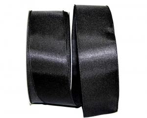 Wired Satin Ribbon - Black, 2-1/2 Inch x 10 yds., (1 Spool) SALE ITEM