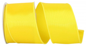 Wired Satin Ribbon - Yellow, 2-1/2 Inch x 10 yds., (1 Spool) SALE ITEM