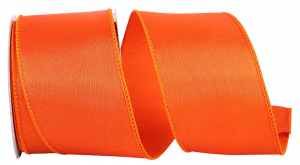 Wired Satin Ribbon - Orange, 2-1/2 Inch x 10 yds., (1 Spool) SALE ITEM