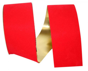 Outdoor Red Velvet Ribbon, Metallic Gold Backed 2.5 inch (25 yards/spool) SALE ITEM