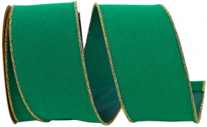 Green Velvet Wired Ribbon, Metallic Gold Edges 2.5 inch (10 yards/spool) MADE IN USA - SALE ITEM