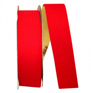 Outdoor Red Velvet Ribbon, Metallic Gold Backed 2.5 inch (100 yards/spool) SALE ITEM