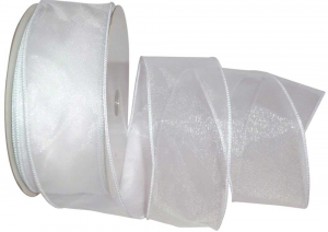 1.5 inch Sheer Organza Wired Ribbon, White (50-yard spool) SALE ITEM
