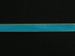 Double Face Satin Ribbon With Gold Edge, Turquoise, 1/4 Inch x 50 Yards (1 Spool) SALE ITEM