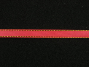 Double Face Satin Ribbon With Gold Edge, Coral, 1/4 Inch x 50 Yards (1 Spool) SALE ITEM