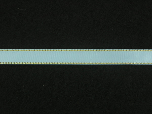 Double Face Satin Ribbon With Gold Edge, Lt. Blue, 1/4 Inch x 50 Yards (1 Spool) SALE ITEM