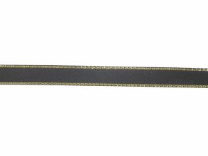 Double Face Satin Ribbon With Gold Edge, Black, 1/4 Inch x 50 Yards (1 Spool) SALE ITEM
