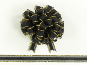 Pull Bow Ribbon , Black-Gold, 3/8 Inch x 50 Yards (1 Spool) SALE ITEM